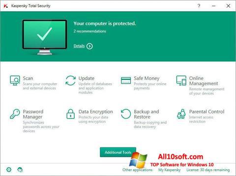 ภาพหน้าจอ Kaspersky Total Security สำหรับ Windows 10
