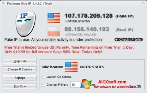 ภาพหน้าจอ Hide IP Platinum สำหรับ Windows 10