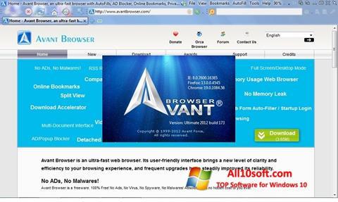 ภาพหน้าจอ Avant Browser สำหรับ Windows 10