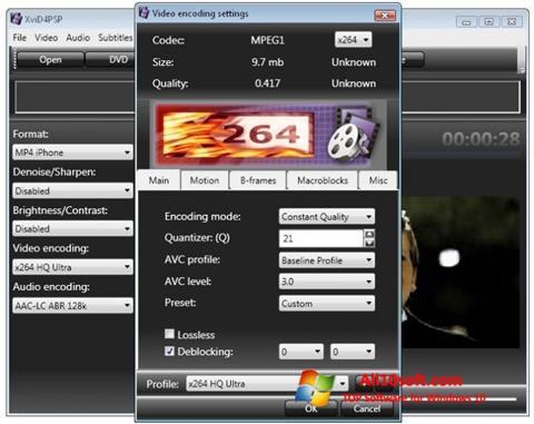 ภาพหน้าจอ XviD4PSP สำหรับ Windows 10
