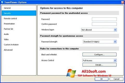 ภาพหน้าจอ TeamViewer สำหรับ Windows 10