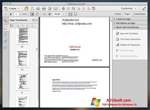 ภาพหน้าจอ Adobe Acrobat สำหรับ Windows 10