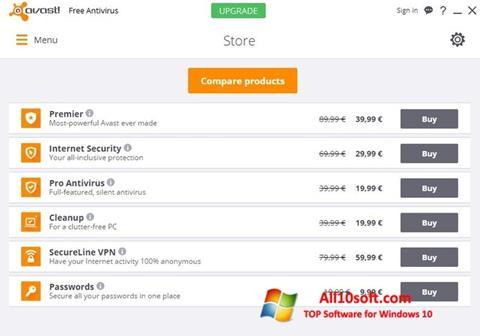 ภาพหน้าจอ Avast Free Antivirus สำหรับ Windows 10