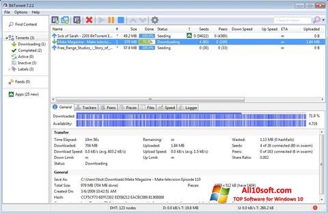 ภาพหน้าจอ BitTorrent สำหรับ Windows 10