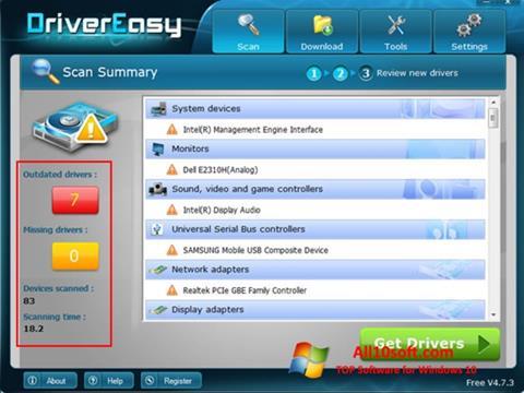 ภาพหน้าจอ Driver Easy สำหรับ Windows 10