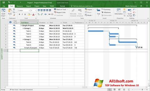 ภาพหน้าจอ Microsoft Project สำหรับ Windows 10