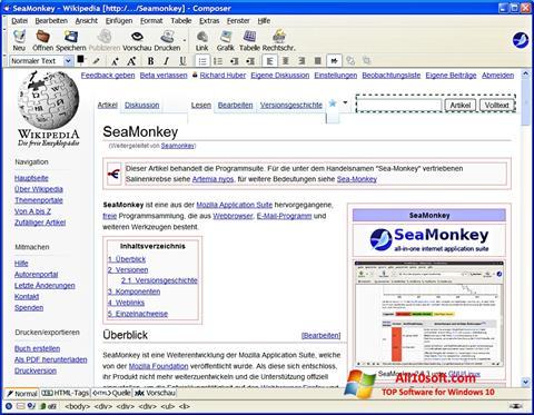 ภาพหน้าจอ SeaMonkey สำหรับ Windows 10