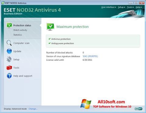 ภาพหน้าจอ ESET NOD32 สำหรับ Windows 10