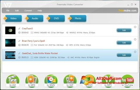 ภาพหน้าจอ Freemake Video Converter สำหรับ Windows 10